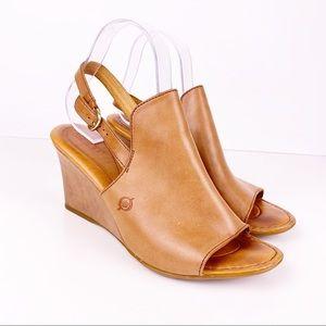 Born Bevi Brown tan Leather Slingback Wedge Sandal